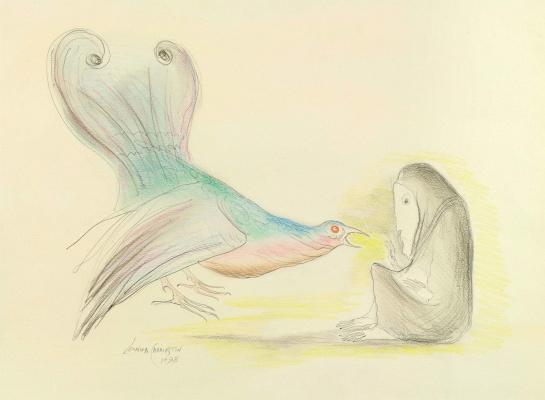 Leonora Carrington. A woman with a bird