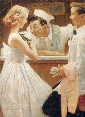 """Norman Rockwell. After the prom. Cover of """"The Saturday Evening Post"""" (may 25, 1957)"""