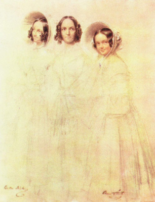 Franz Kruger. Portrait of Frau Grelinger with her daughters Bertha and Clara