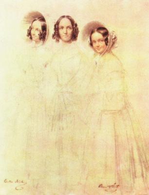 Франц Крюгер. Портрет фрау Крелингер с дочерьми Бертой и Кларой