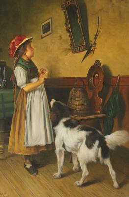 Неизвестный  художник. Девочка и собака