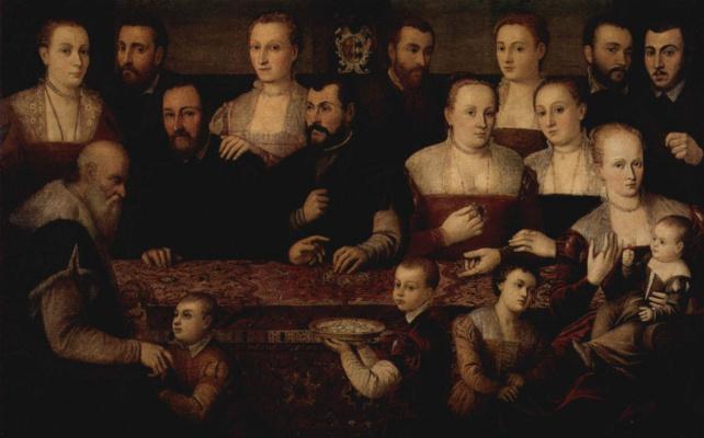 Cesare Vecellio. Family portrait with the Oriental carpet