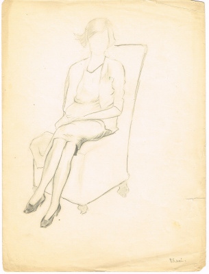 Unknown artist. A female figure in a chair