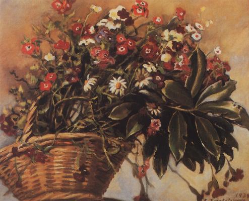 Зинаида Евгеньевна Серебрякова. Корзина с цветами