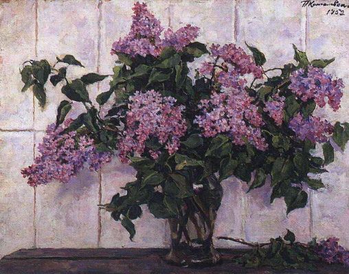 Petr Petrovich Konchalovsky. Lilac in a glass jar on the background of the stove