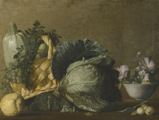 Бернардо Строцци. Натюрморт с кабачками и виноградом в корзине, капустой, лимоном и цветами в вазе