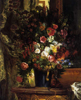 Eugene Delacroix. A vase of flowers on a console