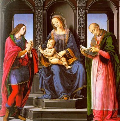 Lorenzo di Credi. Madonna with the child enthroned