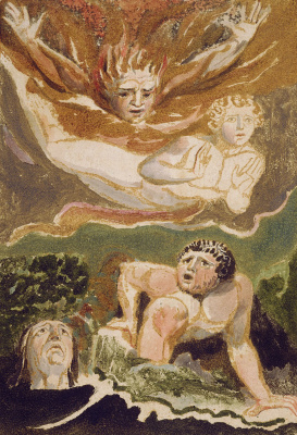 William Blake. The first book Urizen. Sons Urizen, symbolizing the elements of fire, water, earth and air