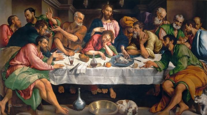 Jacopo da Ponte Bassano. Тайная вечеря