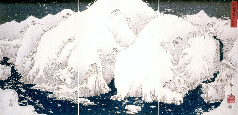 Utagawa Hiroshige. Mountain river and snow-capped mountains of Kiso. Triptych