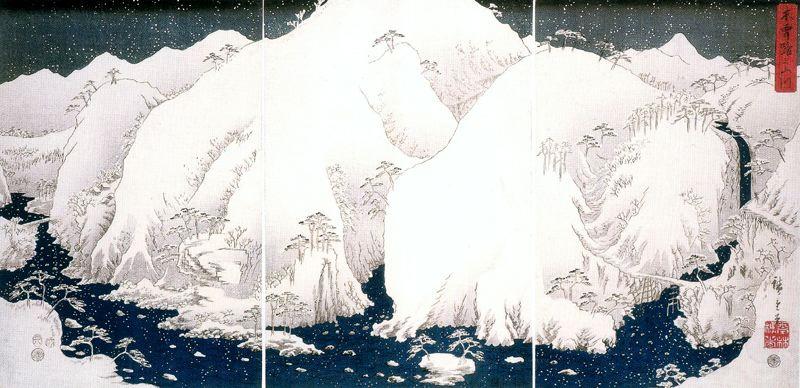 Утагава Хиросигэ. Горная река и заснеженные горы Кисо. Триптих