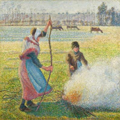 Gelée blanche, jeune paysanne faisant du feu