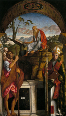 Giovanni Bellini. Saint Christopher, Saint Jerome and Louis of Toulouse