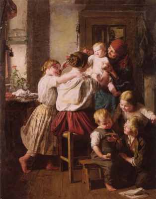 Ferdinand Georg Waldmüller. The children and their grandmother on her day