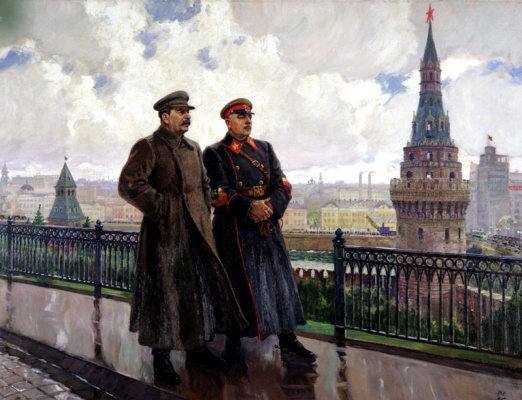 Alexander Mikhailovich Gerasimov. Stalin and Voroshilov in the Kremlin