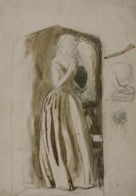 Arthur Hughes. April love. Sketch