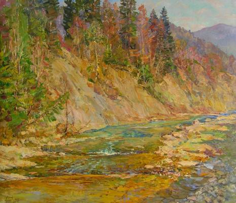Александр Алексеевич Дубровский. Mountain river Painting by Oleksandr Dubrovskyy