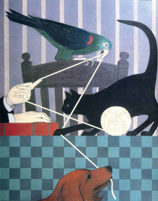 Will Barnet. Ball, cat, parrot and dog