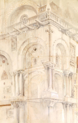 John Ruskin. Northwest corner of the facade of Saint Mark, Venice