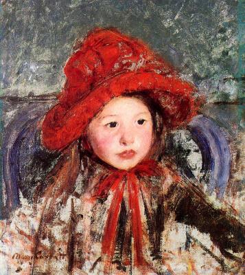 Мэри Кассат. Маленькая девочка в большой красной шляпе