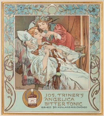 """Alphonse Mucha. Bitter balm """"Angelica Bitter"""""""