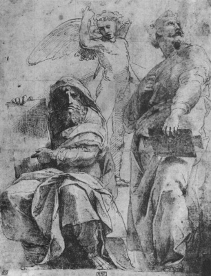Raphael Sanzio. The prophets Jonah and Hosea. Sketches for the mosaics of the Capella Chigi
