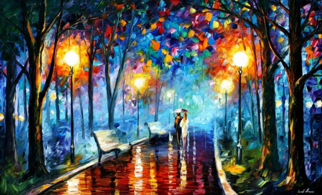 Leonid Afremov. Purple sunset