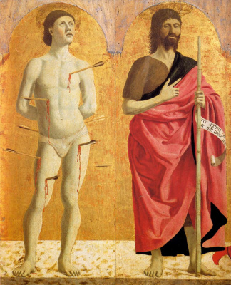 Piero della Francesca. The Polyptych Of Mercy. Saint Sebastian and John the Baptist
