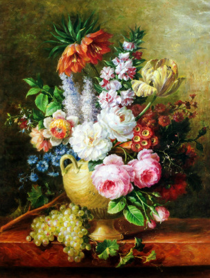 Savely Kamsky. Bouquet with tulip and peonies