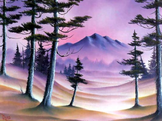 Bob Ross. Misty hills