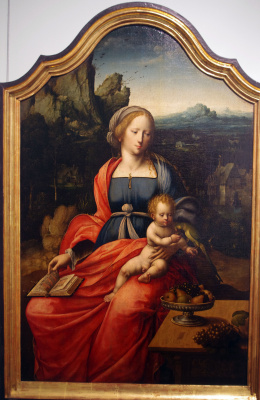 Masterpieces of unknown artists. The Madonna and child in a landscape