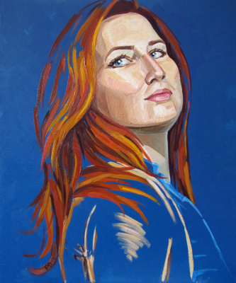 Olesya Rapotkin. Self portrait on blue