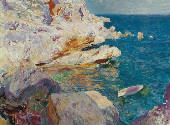 Joaquin Sorolla (Soroya). Rocks and white boat Javea