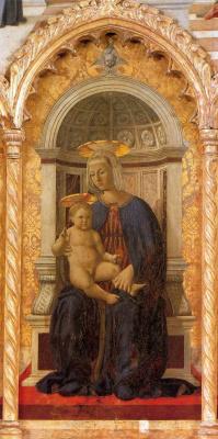 Пьеро делла Франческа. Мадонна с младенцем. Центральная часть полиптиха Святого Антония