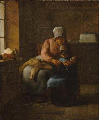 Жан-Франсуа Милле. Урок вязания