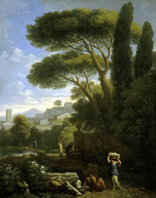 Ян Франс ван Блумен. Пейзаж с фонтаном