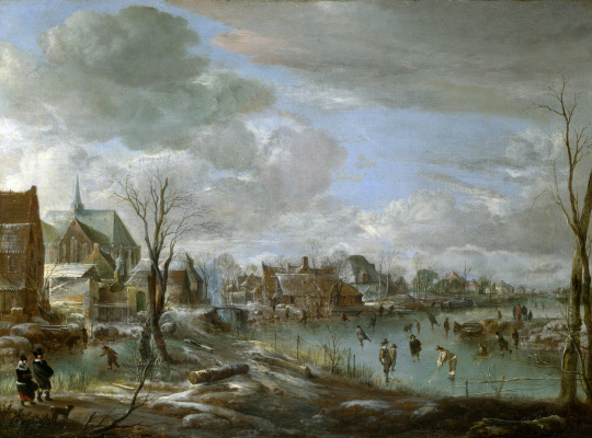 Art van der Ner. Frozen river near the village, among golfers and skaters
