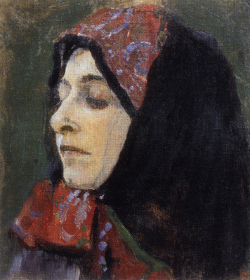 "Mikhail Vasilyevich Nesterov. Head of a woman in a patterned headscarf. Study for the painting ""In Russia (Soul of the people)"""