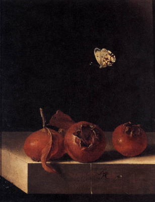 Still life with three fruits medlars and a butterfly