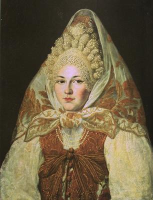 Абрам Клюквин. Женщина в торопецком жемчужном кокошнике и платке