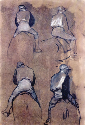 Edgar Degas. Four studies of a jockey