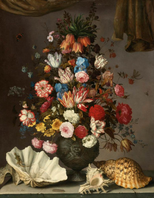 Baltazar van der Ast. Still life with flowers in a vase and large sinks