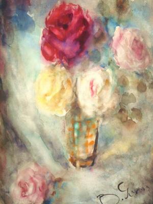 Vera Leonidovna Yasnopolskaya. Still life with flowers. Roses