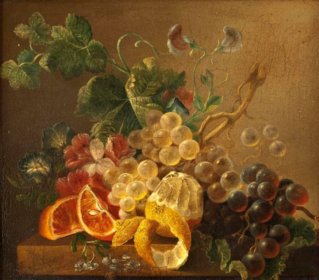 Johann Wilhelm Prairie. Still life with grapes, oranges and lemon.