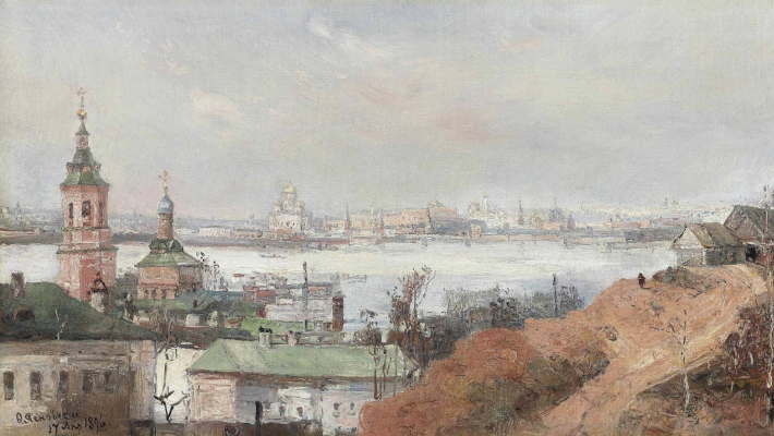 Fedor Ivanovich Yasnovsky. View of the Kremlin and the Moscow River. 1896