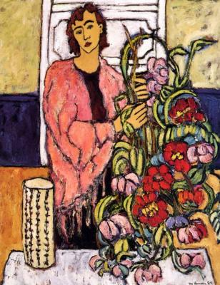 Моник Харви. Женщина с розовым платком держит букет