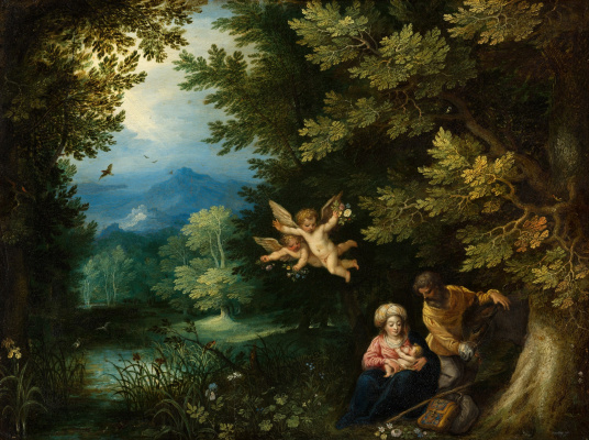 Jan Bruegel The Elder. Rest on the flight into Egypt