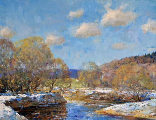 Alexander Victorovich Shevelyov. The spring river.Oil on canvas 34,5 # 44,5 cm 2006