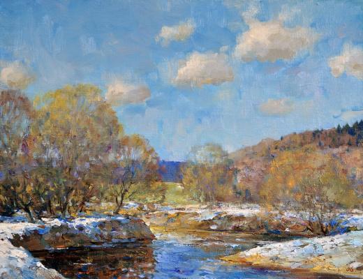 Alexander Victorovich Shevelyov. The spring river.Oil on canvas 34,5 # 44,5 cm 2006